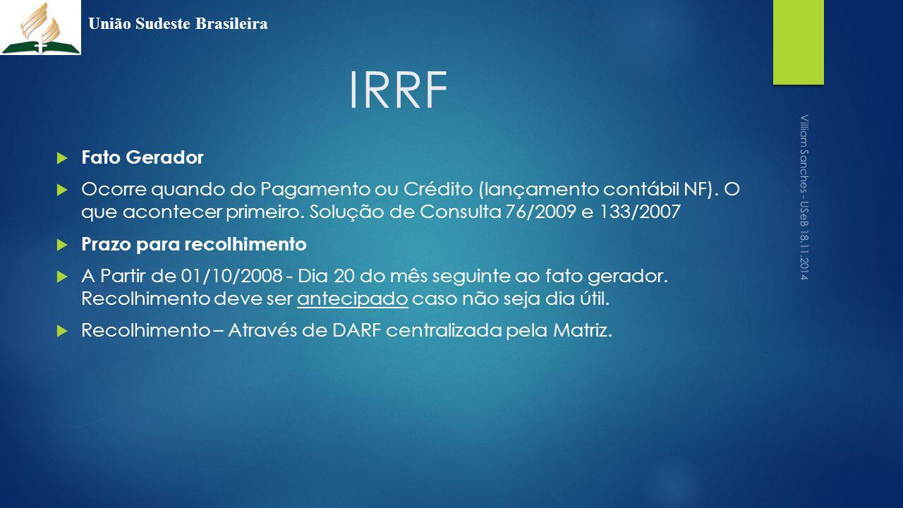 IRRF  Fato Gerador  Ocorre quando do Pagamento ou Crédito (lançamento contábil NF). O que acontecer primeiro. Solução de Consulta 76/2009 e 133/2007