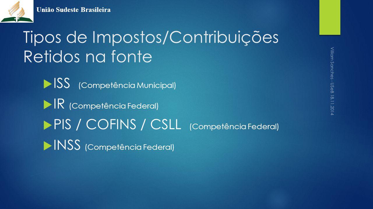 Tipos de Impostos/Contribuições Retidos na fonte  ISS (Competência Municipal)  IR (Competência Federal)  PIS / COFINS / CSLL (Competência Federal)