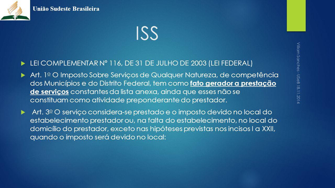 ISS  LEI COMPLEMENTAR Nº 116, DE 31 DE JULHO DE 2003 (LEI FEDERAL)  Art. 1 o O Imposto Sobre Serviços de Qualquer Natureza, de competência dos Munic