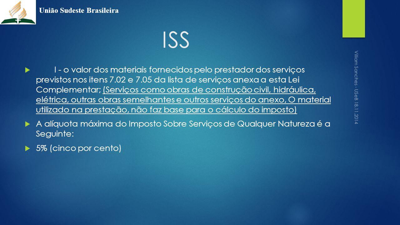 ISS  I - o valor dos materiais fornecidos pelo prestador dos serviços previstos nos itens 7.02 e 7.05 da lista de serviços anexa a esta Lei Complemen