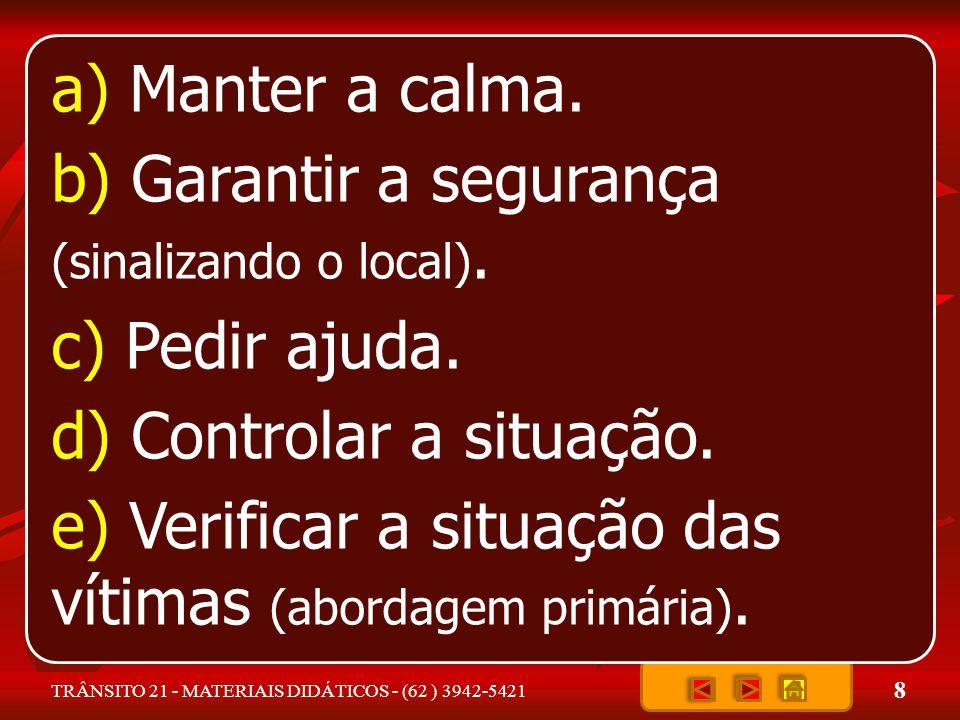8 TRÂNSITO 21 - MATERIAIS DIDÁTICOS - (62 ) 3942-5421 a) Manter a calma.