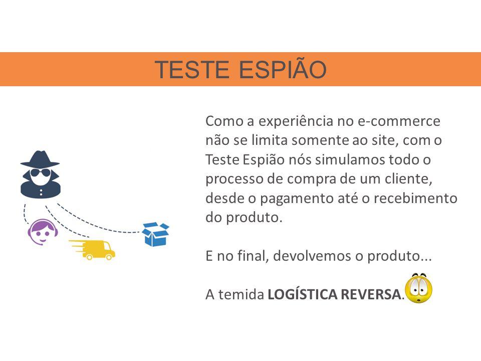 Como a experiência no e-commerce não se limita somente ao site, com o Teste Espião nós simulamos todo o processo de compra de um cliente, desde o pagamento até o recebimento do produto.
