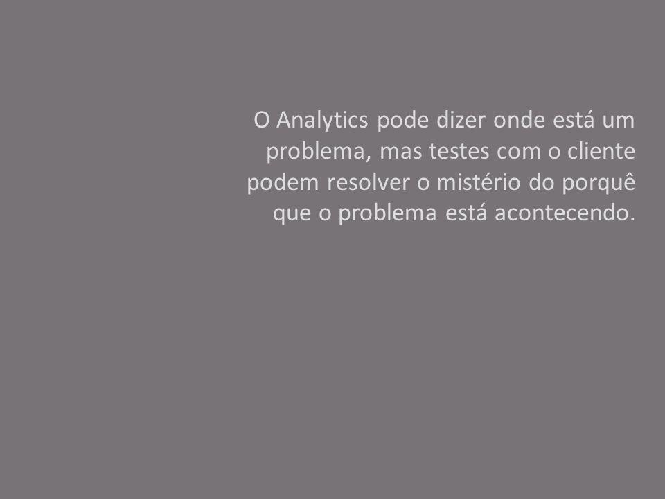 O Analytics pode dizer onde está um problema, mas testes com o cliente podem resolver o mistério do porquê que o problema está acontecendo.