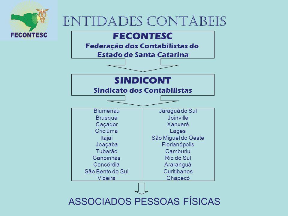 ENTIDADES CONTÁBEIS FECONTESC Federação dos Contabilistas do Estado de Santa Catarina SINDICONT Sindicato dos Contabilistas Blumenau Brusque Caçador C