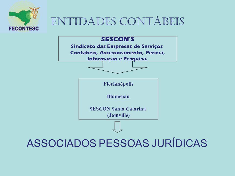 ENTIDADES CONTÁBEIS ASSOCIADOS PESSOAS JURÍDICAS SESCON'S Sindicato das Empresas de Serviços Contábeis, Assessoramento, Perícia, Informação e Pesquisa