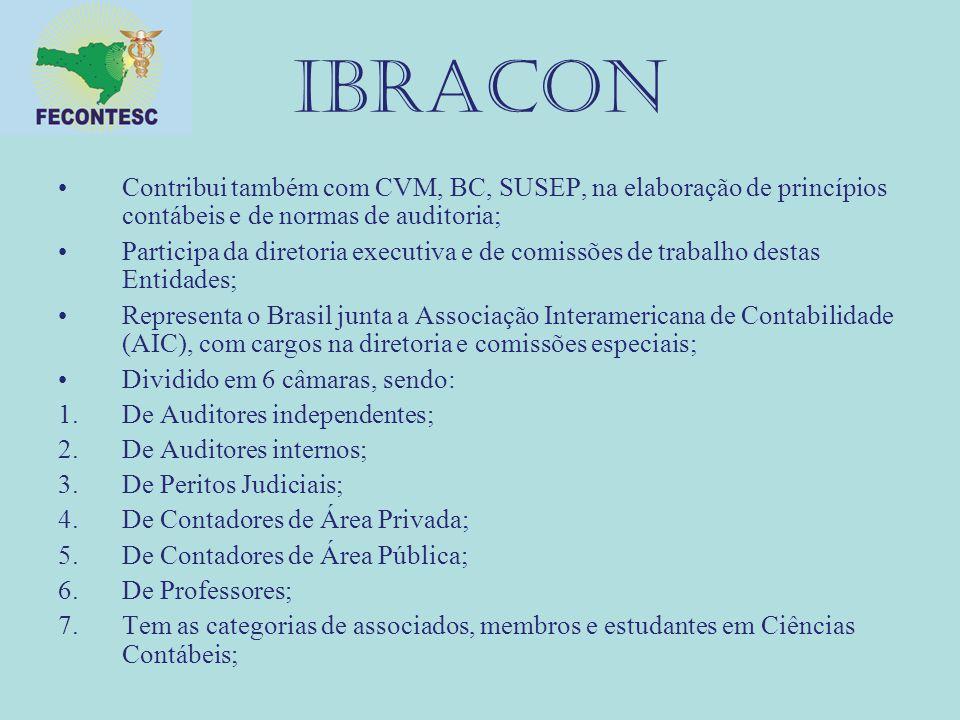 IBRACON Contribui também com CVM, BC, SUSEP, na elaboração de princípios contábeis e de normas de auditoria; Participa da diretoria executiva e de com