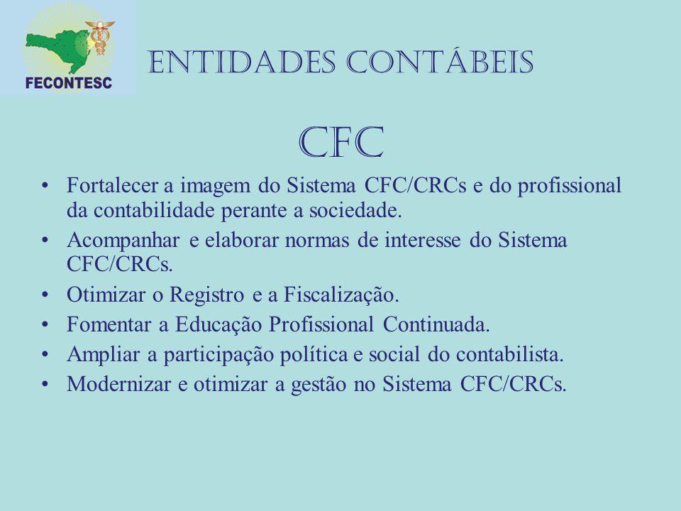 ENTIDADES CONTÁBEIS CFC Fortalecer a imagem do Sistema CFC/CRCs e do profissional da contabilidade perante a sociedade. Acompanhar e elaborar normas d