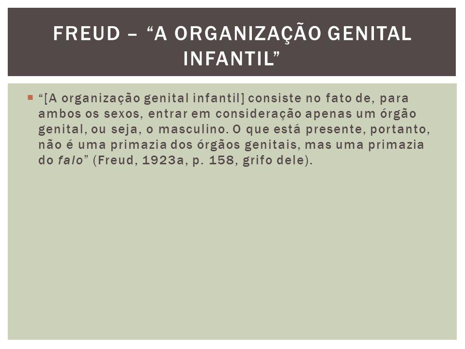 """ """"[A organização genital infantil] consiste no fato de, para ambos os sexos, entrar em consideração apenas um órgão genital, ou seja, o masculino. O"""