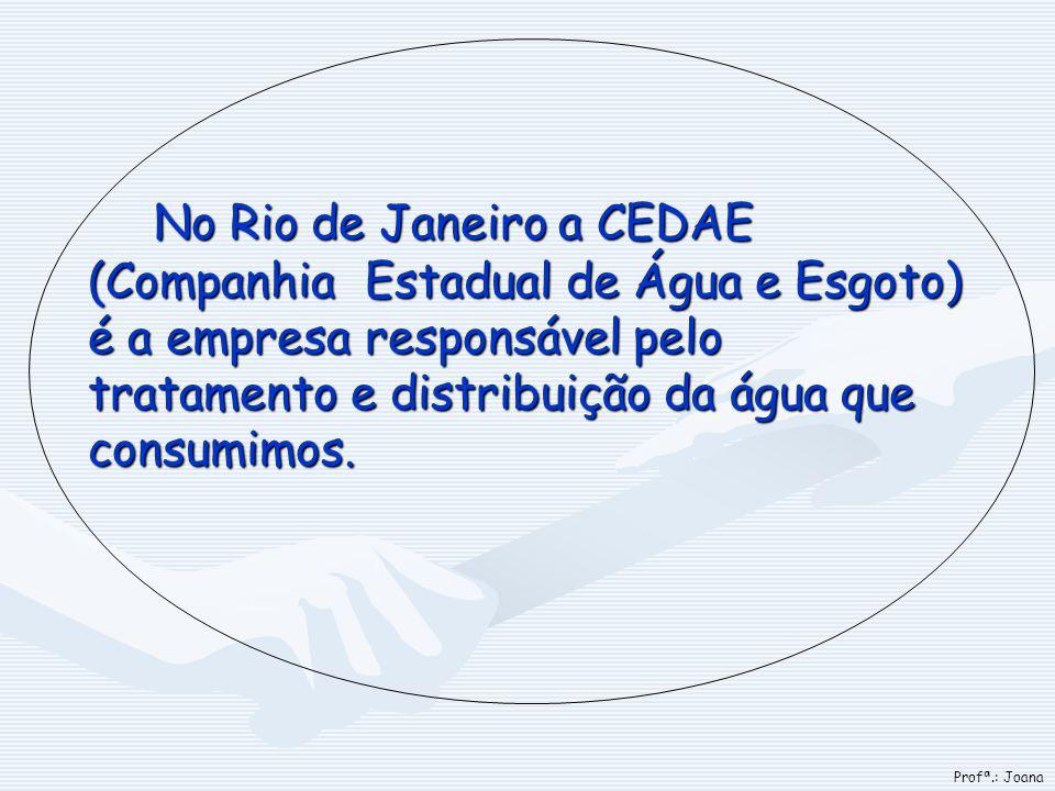No Rio de Janeiro a CEDAE (Companhia Estadual de Água e Esgoto) é a empresa responsável pelo tratamento e distribuição da água que consumimos. Profª.: