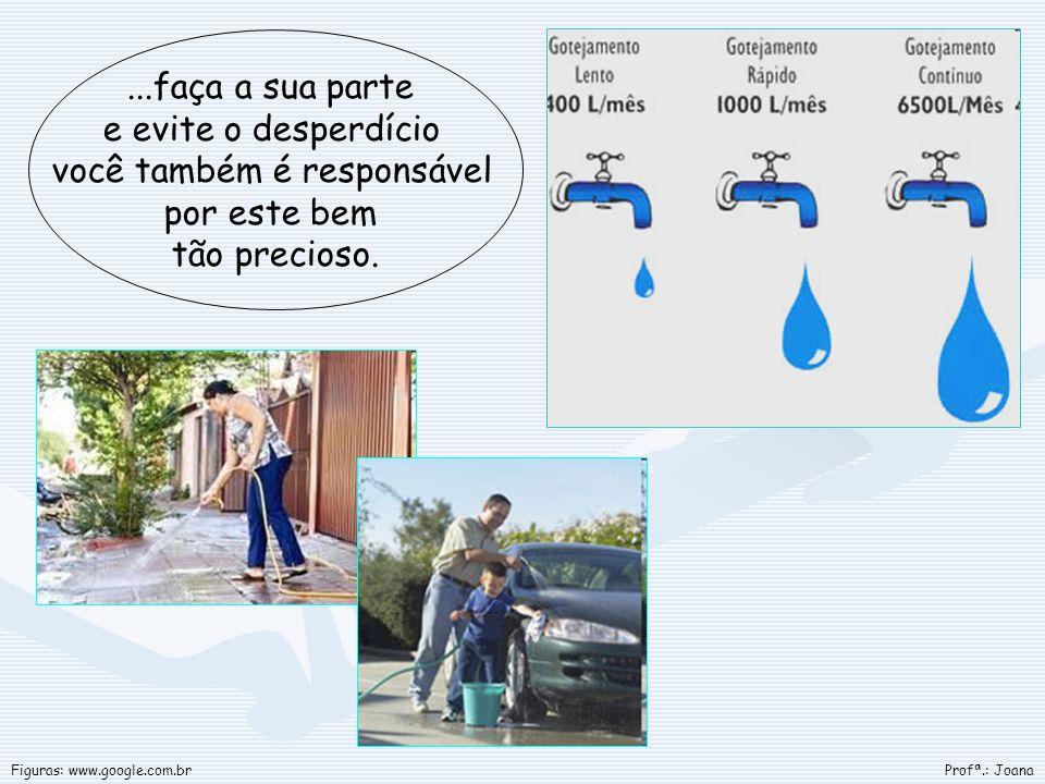 ...faça a sua parte e evite o desperdício você também é responsável por este bem tão precioso. Profª.: JoanaFiguras: www.google.com.br