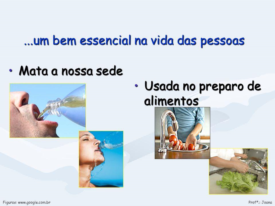 ...um bem essencial na vida das pessoas Mata a nossa sedeMata a nossa sede Usada no preparo de alimentos Profª.: JoanaFiguras: www.google.com.br