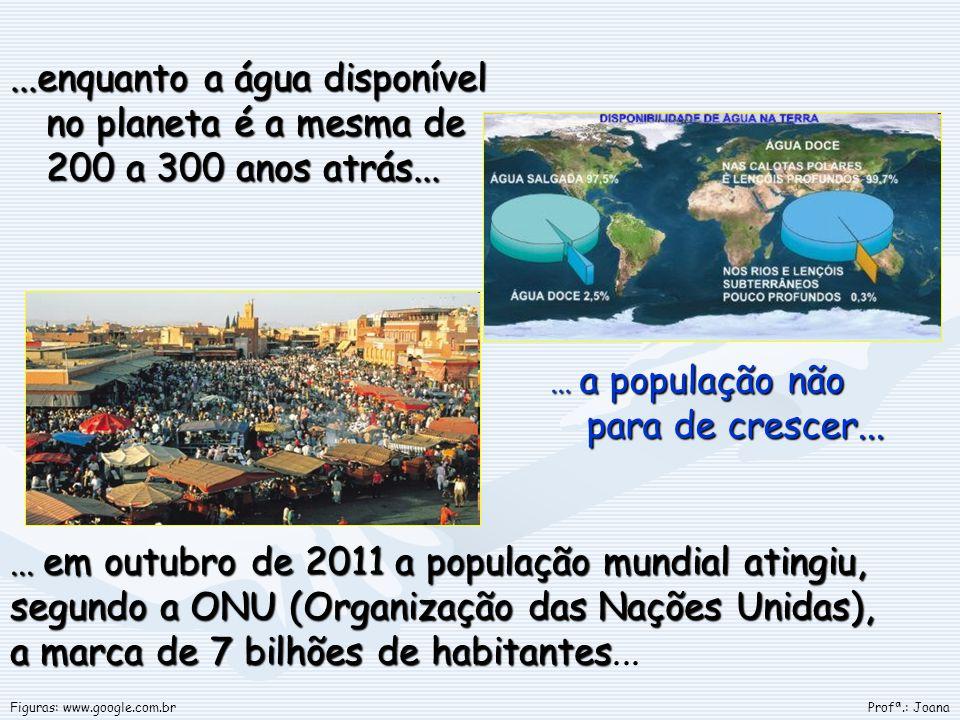 ...enquanto a água disponível no planeta é a mesma de 200 a 300 anos atrás...... a população não para de crescer...... em outubro de 2011 a população