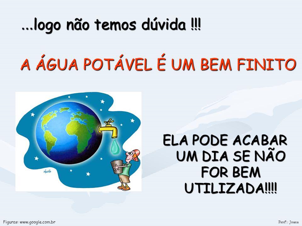 ELA PODE ACABAR UM DIA SE NÃO FOR BEM UTILIZADA!!!! A ÁGUA POTÁVEL É UM BEM FINITO... logo não temos dúvida !!! Profª.: Joana Figuras: www.google.com.