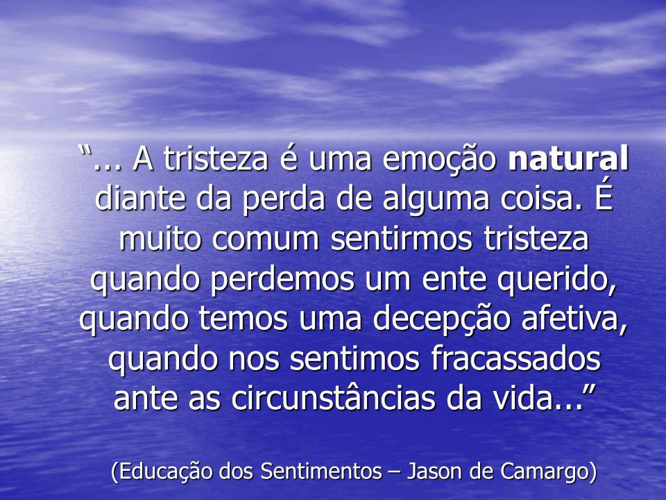 ...A tristeza é uma emoção natural diante da perda de alguma coisa.