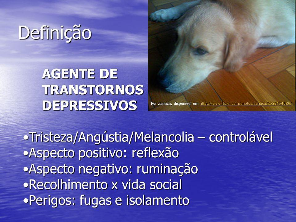 Definição Por Zanaca, disponível em http://www.flickr.com/photos/zanaca/2039474689/ http://www.flickr.com/photos/zanaca/2039474689/ AGENTE DE AGENTE DE TRANSTORNOS TRANSTORNOS DEPRESSIVOS DEPRESSIVOS Tristeza/Angústia/Melancolia – controlávelTristeza/Angústia/Melancolia – controlável Aspecto positivo: reflexãoAspecto positivo: reflexão Aspecto negativo: ruminaçãoAspecto negativo: ruminação Recolhimento x vida socialRecolhimento x vida social Perigos: fugas e isolamentoPerigos: fugas e isolamento