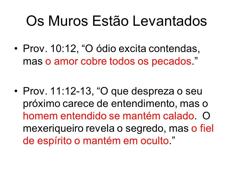"Prov. 10:12, ""O ódio excita contendas, mas o amor cobre todos os pecados."" Prov. 11:12-13, ""O que despreza o seu próximo carece de entendimento, mas o"