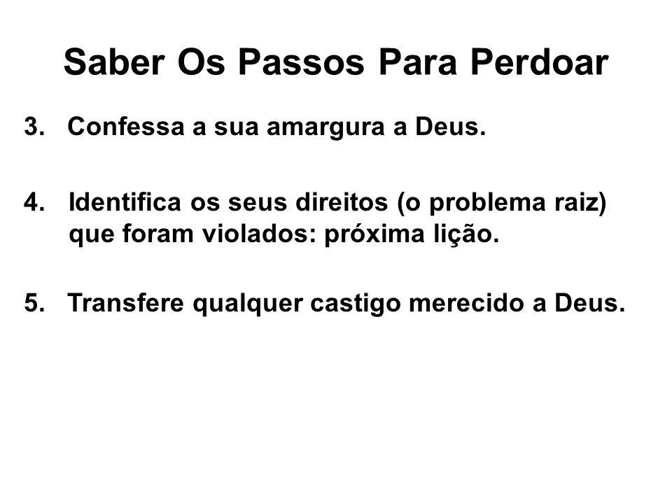 3. Confessa a sua amargura a Deus. Saber Os Passos Para Perdoar 4.Identifica os seus direitos (o problema raiz) que foram violados: próxima lição. 5.