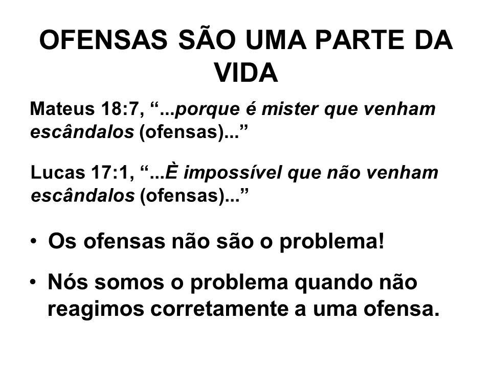"""OFENSAS SÃO UMA PARTE DA VIDA Os ofensas não são o problema! Nós somos o problema quando não reagimos corretamente a uma ofensa. Lucas 17:1, """"...È imp"""