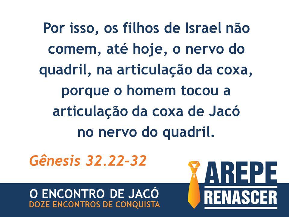 Por isso, os filhos de Israel não comem, até hoje, o nervo do quadril, na articulação da coxa, porque o homem tocou a articulação da coxa de Jacó no nervo do quadril.