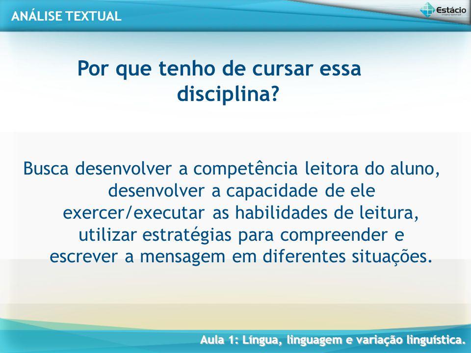 ANÁLISE TEXTUAL Profª. Fábio Simas Aula 1: Língua, linguagem e variação linguística.