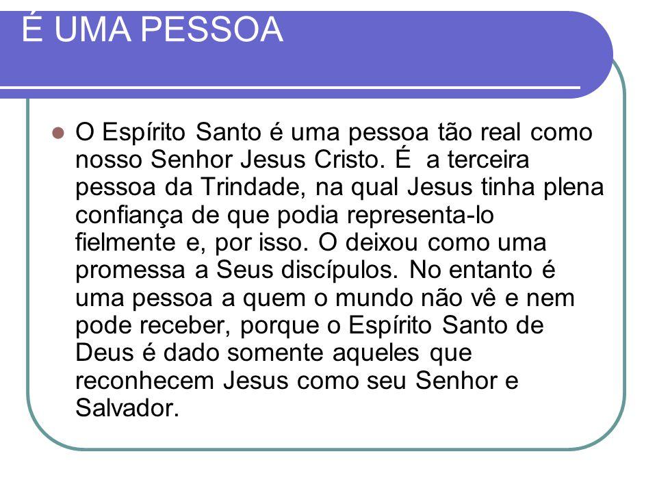 É UMA PESSOA O Espírito Santo é uma pessoa tão real como nosso Senhor Jesus Cristo. É a terceira pessoa da Trindade, na qual Jesus tinha plena confian