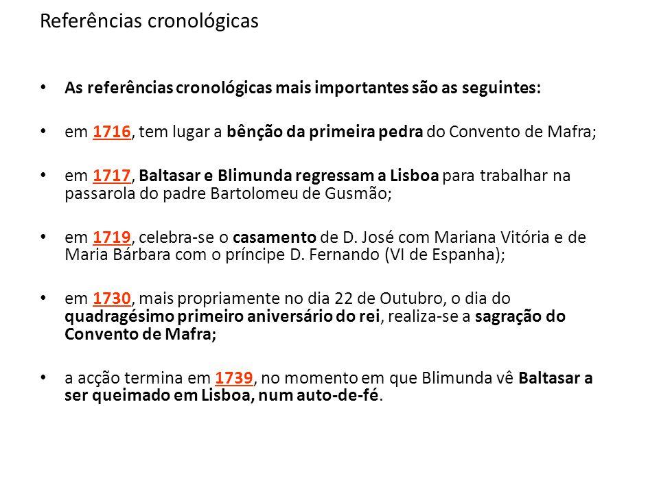 Referências cronológicas As referências cronológicas mais importantes são as seguintes: em 1716, tem lugar a bênção da primeira pedra do Convento de M