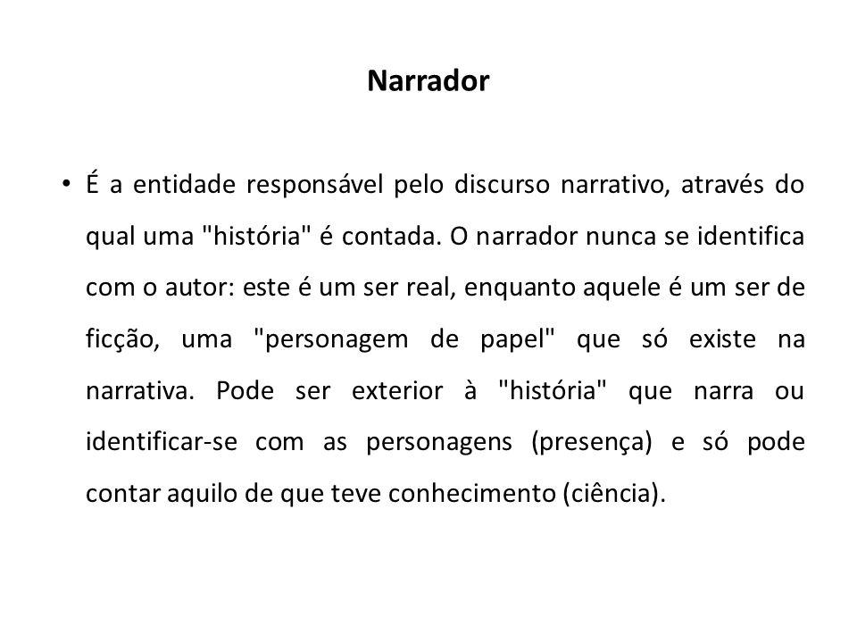Narrador É a entidade responsável pelo discurso narrativo, através do qual uma