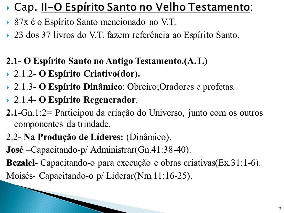 II-O Espírito Santo no Velho Testamento  Cap. II-O Espírito Santo no Velho Testamento:  87x é o Espírito Santo mencionado no V.T.  23 dos 37 livros