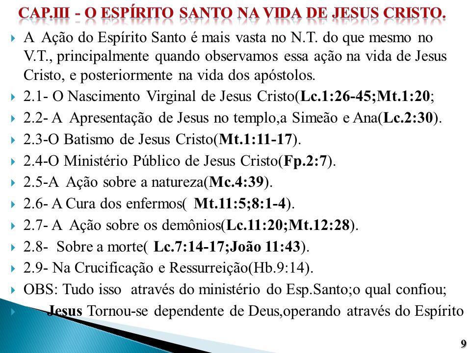  A Ação do Espírito Santo é mais vasta no N.T. do que mesmo no V.T., principalmente quando observamos essa ação na vida de Jesus Cristo, e posteriorm