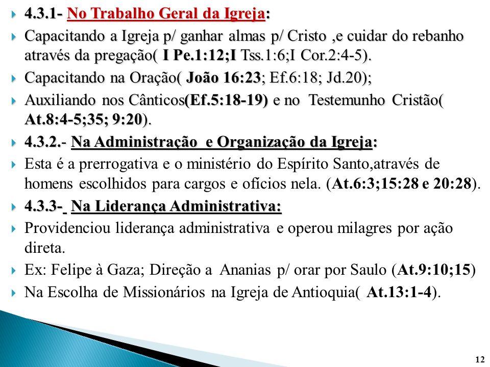  4.3.1- No Trabalho Geral da Igreja:  Capacitando a Igreja p/ ganhar almas p/ Cristo,e cuidar do rebanho através da pregação( I Pe.1:12;I Tss.1:6;I