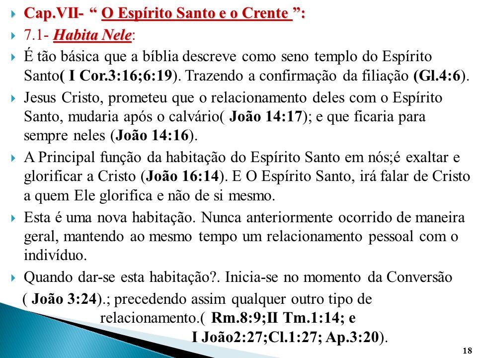 """ Cap.VII- """" O Espírito Santo e o Crente """": Habita Nele  7.1- Habita Nele:  É tão básica que a bíblia descreve como seno templo do Espírito Santo( I"""