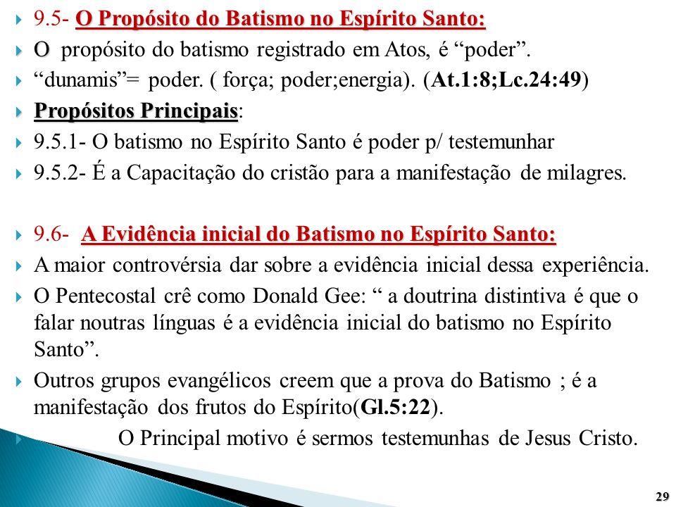 """O Propósito do Batismo no Espírito Santo:  9.5- O Propósito do Batismo no Espírito Santo:  O  O propósito do batismo registrado em Atos, é """"poder""""."""