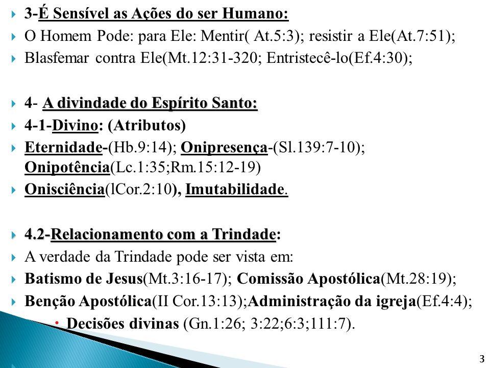  3-É Sensível as Ações do ser Humano:  O Homem Pode: para Ele: Mentir( At.5:3); resistir a Ele(At.7:51);  Blasfemar contra Ele(Mt.12:31-320; Entris