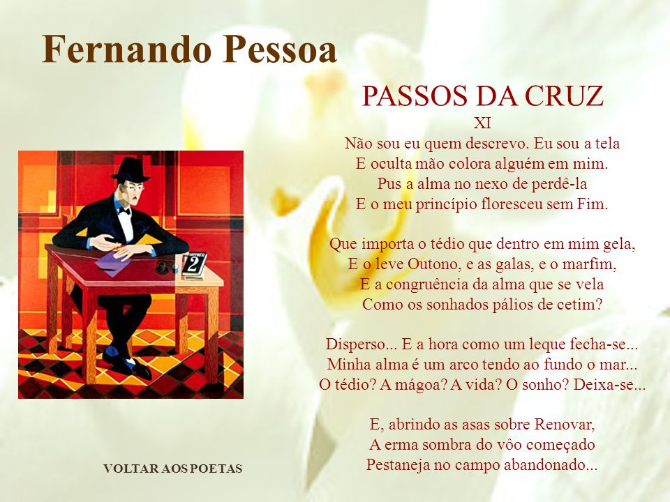 VOLTAR AOS POETAS Fernando Pessoa PASSOS DA CRUZ XI Não sou eu quem descrevo.
