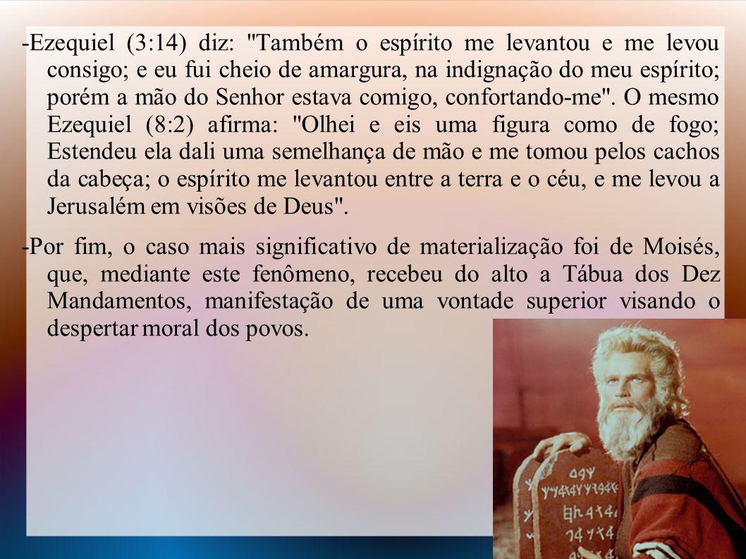 -Ezequiel (3:14) diz: Também o espírito me levantou e me levou consigo; e eu fui cheio de amargura, na indignação do meu espírito; porém a mão do Senhor estava comigo, confortando-me .