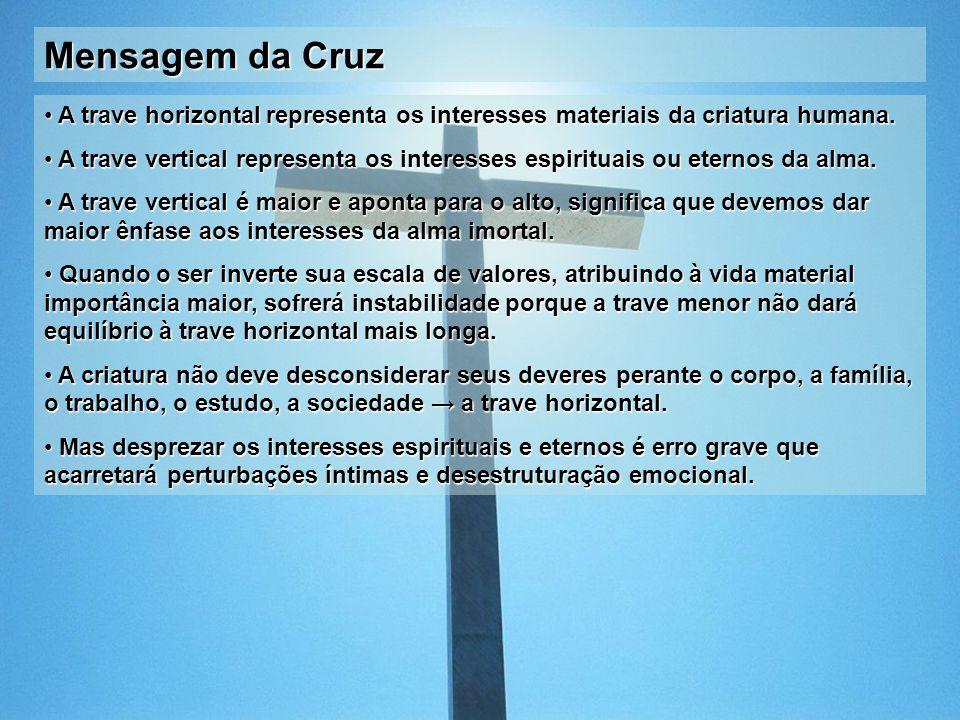 Mensagem da Cruz A trave horizontal representa os interesses materiais da criatura humana. A trave horizontal representa os interesses materiais da cr