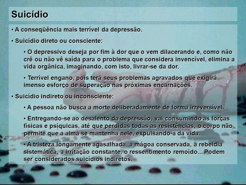 Suicídio A conseqüência mais terrível da depressão. A conseqüência mais terrível da depressão. Suicídio direto ou consciente: Suicídio direto ou consc