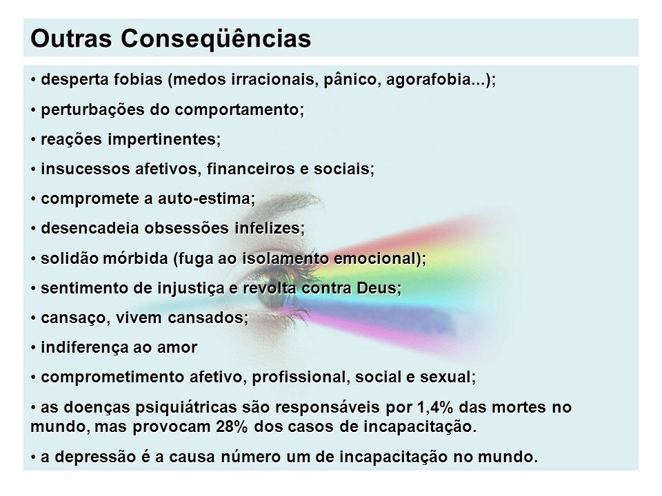 Outras Conseqüências desperta fobias (medos irracionais, pânico, agorafobia...); desperta fobias (medos irracionais, pânico, agorafobia...); perturbaç