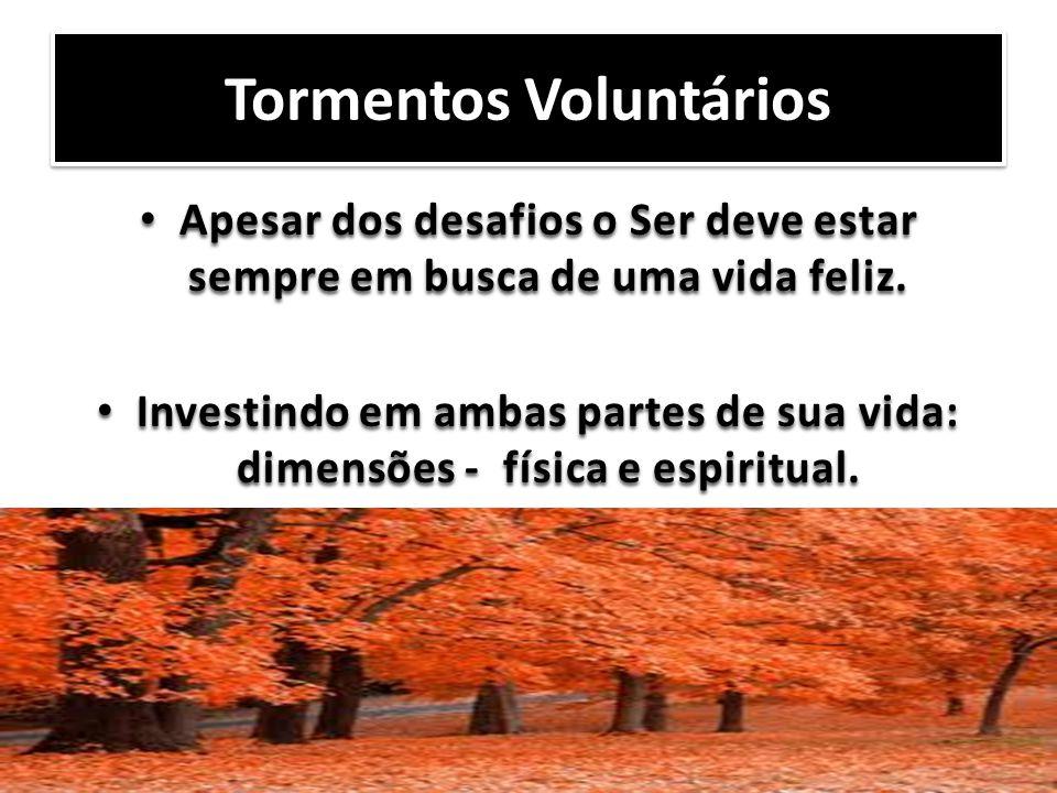 Tormentos Voluntários Apesar dos desafios o Ser deve estar sempre em busca de uma vida feliz. Apesar dos desafios o Ser deve estar sempre em busca de