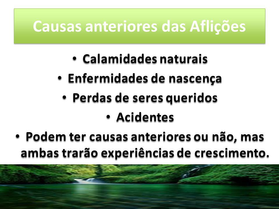 Causas anteriores das Aflições Calamidades naturais Calamidades naturais Enfermidades de nascença Enfermidades de nascença Perdas de seres queridos Pe