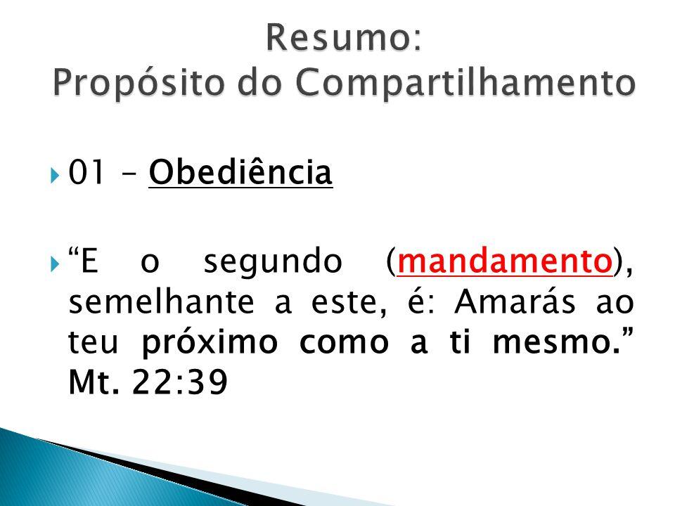  01 – Obediência  E o segundo (mandamento), semelhante a este, é: Amarás ao teu próximo como a ti mesmo. Mt.