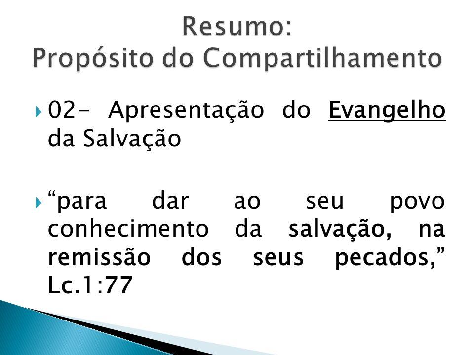 """ 02- Apresentação do Evangelho da Salvação  """"para dar ao seu povo conhecimento da salvação, na remissão dos seus pecados,"""" Lc.1:77"""