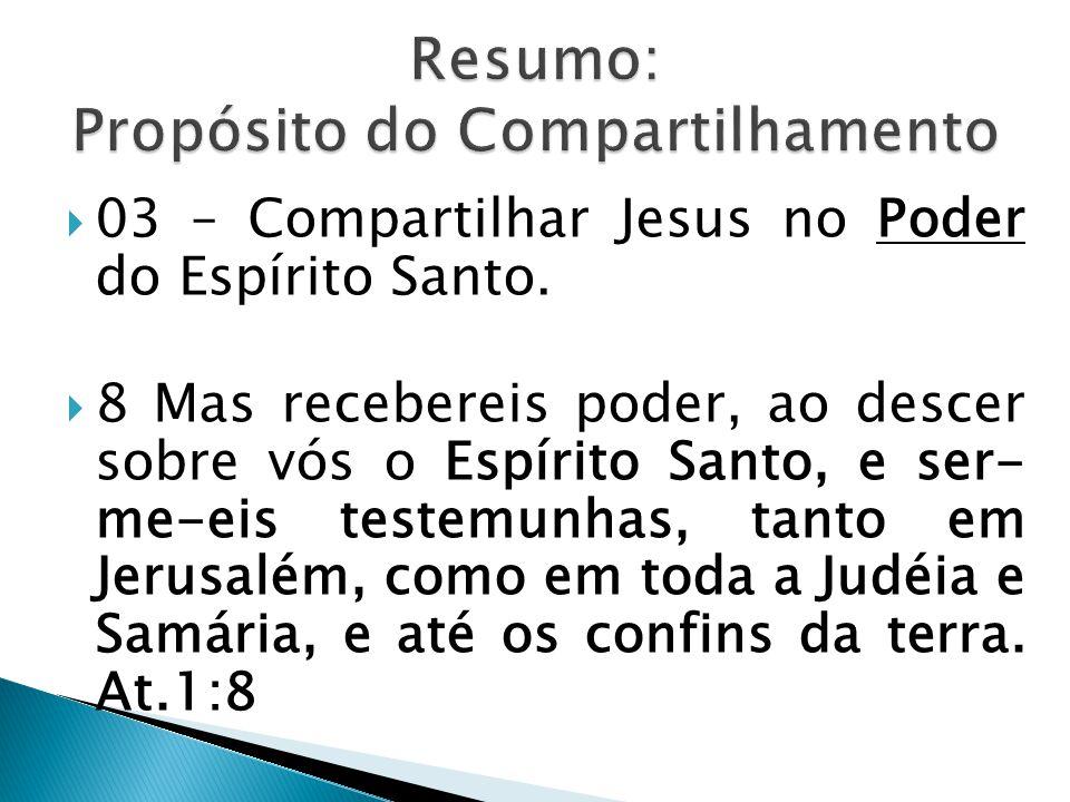  03 – Compartilhar Jesus no Poder do Espírito Santo.
