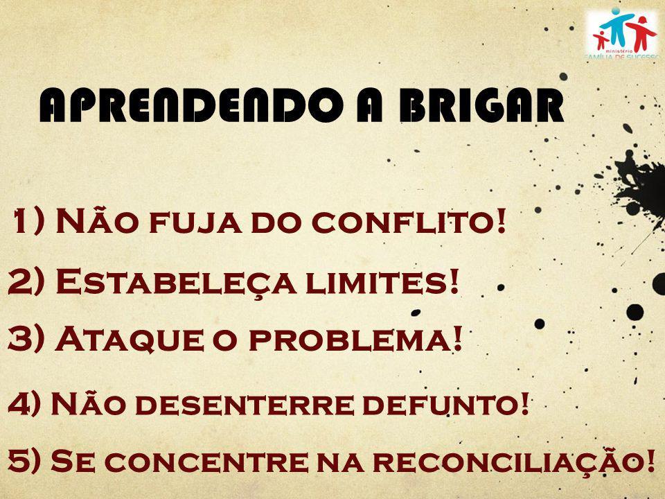 APRENDENDO A BRIGAR 1) Não fuja do conflito! 2) Estabeleça limites! 3) Ataque o problema! 4) Não desenterre defunto! 5) Se concentre na reconciliação!