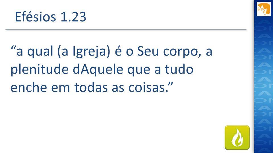 """Efésios 1.23 """"a qual (a Igreja) é o Seu corpo, a plenitude dAquele que a tudo enche em todas as coisas."""""""