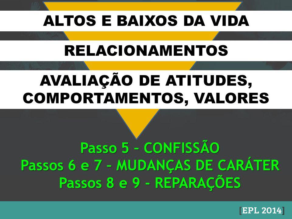 ALTOS E BAIXOS DA VIDA RELACIONAMENTOS AVALIAÇÃO DE ATITUDES, COMPORTAMENTOS, VALORES Passo 5 – CONFISSÃO Passos 6 e 7 – MUDANÇAS DE CARÁTER Passos 8