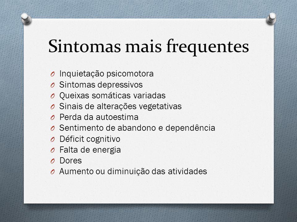 Sintomas mais frequentes O Inquietação psicomotora O Sintomas depressivos O Queixas somáticas variadas O Sinais de alterações vegetativas O Perda da a