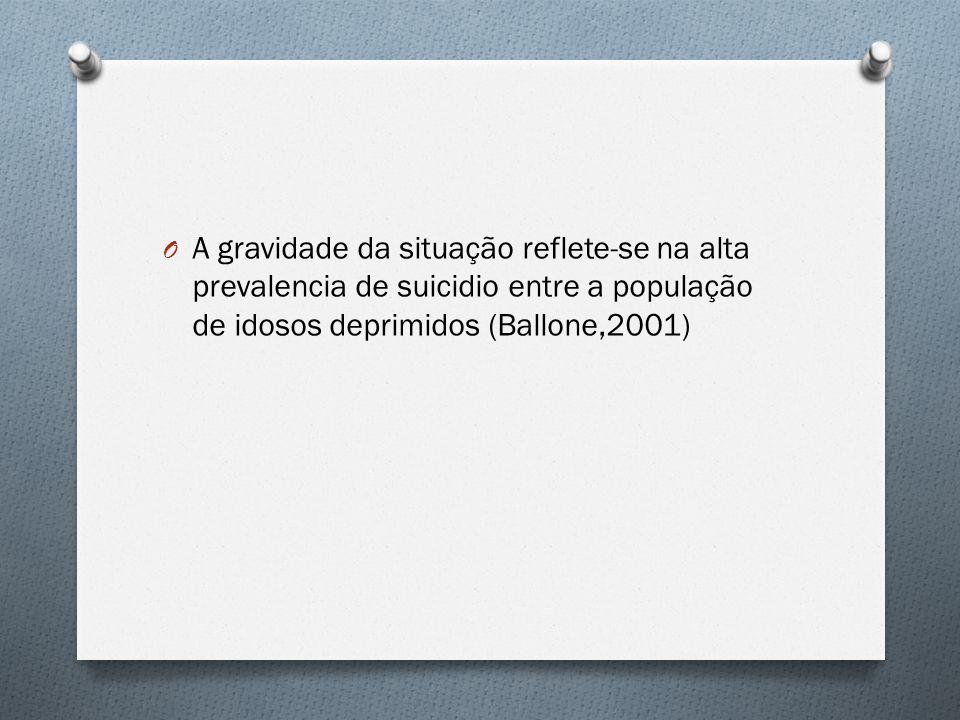 O A gravidade da situação reflete-se na alta prevalencia de suicidio entre a população de idosos deprimidos (Ballone,2001)