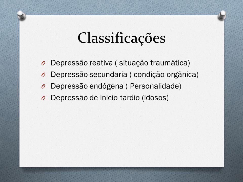 Classificações O Depressão reativa ( situação traumática) O Depressão secundaria ( condição orgânica) O Depressão endógena ( Personalidade) O Depressã