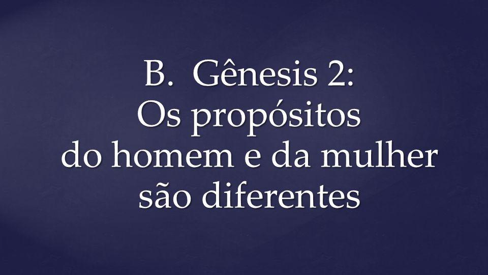 B.Gênesis 2: Os propósitos do homem e da mulher são diferentes